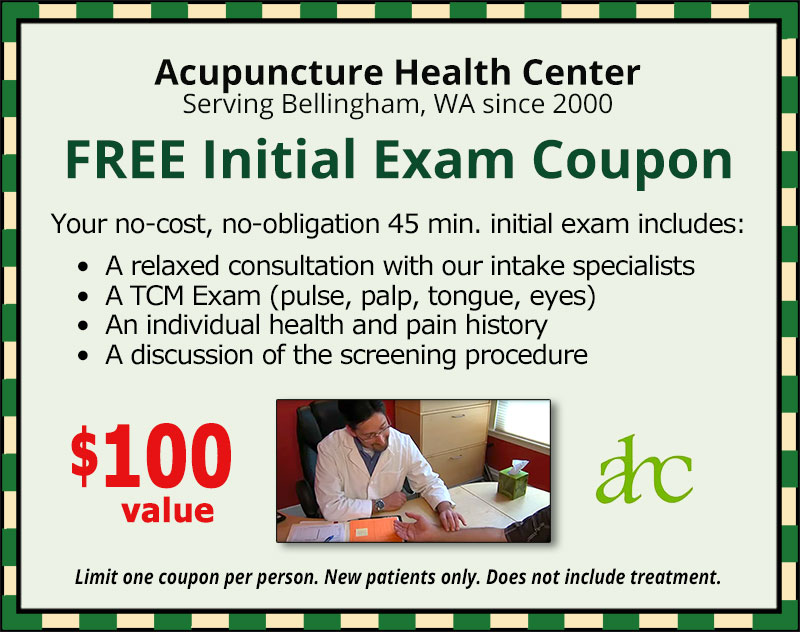 FREE Initial Acupuncture Exam Coupon